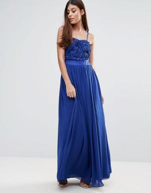 Zibi London Платье макси с объемной цветочной аппликацией. Цвет: синий