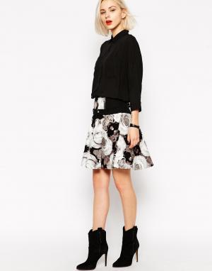 L.A.M.B. Короткая расклешенная юбка с фотографическим принтом роз L.A.M.B. Цвет: as sample