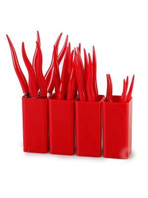 Столовые приборы CHILI 24 предмета MOULINvilla. Цвет: красный