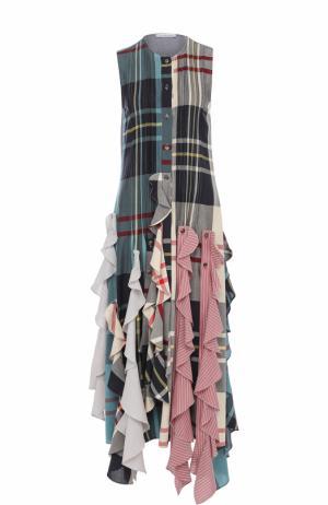 Платье-миди в клетку с оборками J.W. Anderson. Цвет: разноцветный
