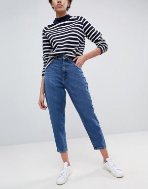 ASOS Темно-синие джинсы бойфренда DESIGN. Цвет: синий