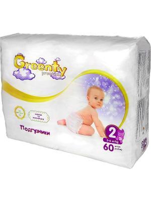 Одноразовые детские подгузники GREENTY 2 (3-6 кг) 60 шт.. Цвет: белый