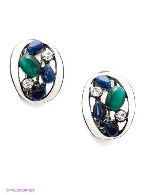 Серьги Art Silver. Цвет: серебристый, синий, зеленый
