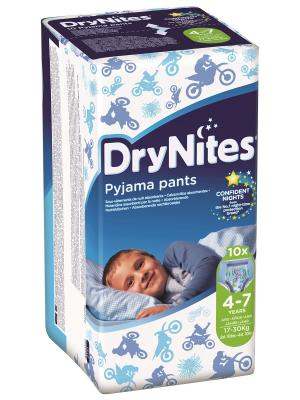 Трусики DryNights для мальчиков 4-7лет 10шт HUGGIES. Цвет: синий, белый