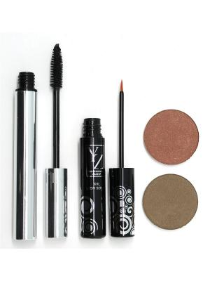 Промо-набор  декоративной косметики YZ(тени 2 шт+тушь+сыворотка для роста ресниц) ИЛЛОЗУР. Цвет: коричневый, оливковый, черный
