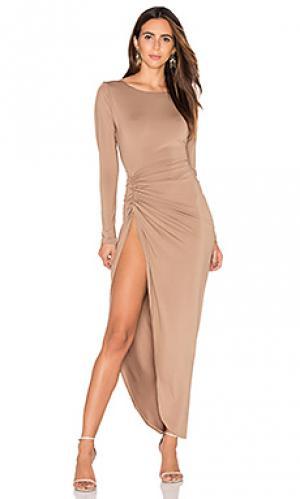 Макси платье с разрезом amore LIONESS. Цвет: цвет загара