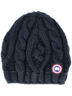 Трикотажная шапка Canada Goose. Цвет: синий