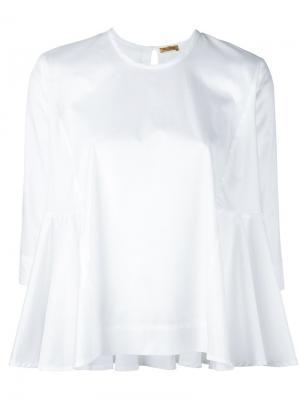 Расклешенная блузка Peter Jensen. Цвет: белый