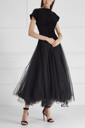 Комбинированное платье Cyrille Gassiline. Цвет: черный