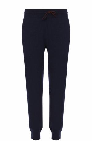 Кашемировые брюки с поясом на кулиске Loro Piana. Цвет: темно-синий