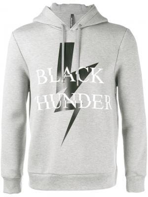 Толстовка с капюшоном и принтом Black Thunder Neil Barrett. Цвет: серый