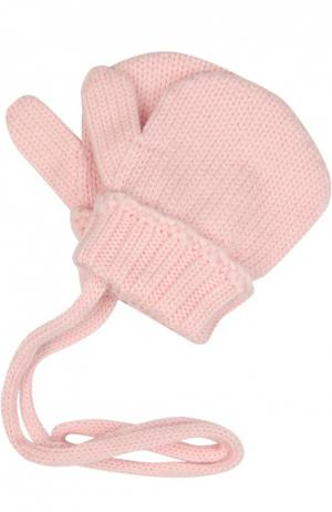 Вязаные варежки из шерсти Il Trenino. Цвет: розовый
