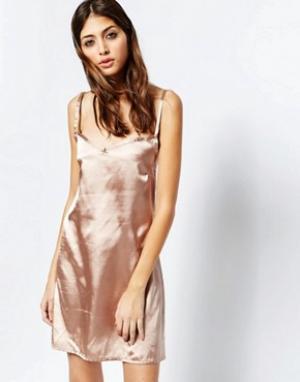 See You Never Denim Золотисто-розовое платье-комбинация. Цвет: синий