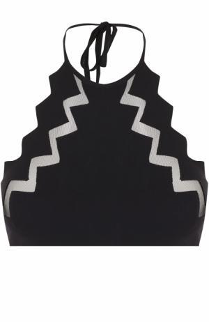 Бра с открытой спиной и прозрачными вставками Marysia. Цвет: черный