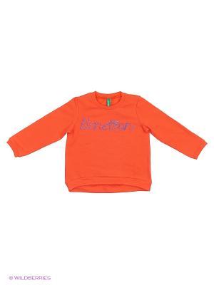 Толстовка с вышивкой United Colors of Benetton. Цвет: оранжевый