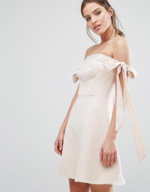 Keepsake Платье с открытыми плечами и бантиками. Цвет: рыжий