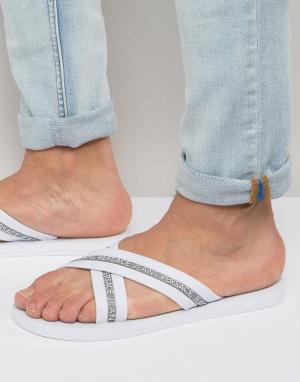 Versace Jeans Шлепанцы с перекрестными ремешками и логотипом. Цвет: белый