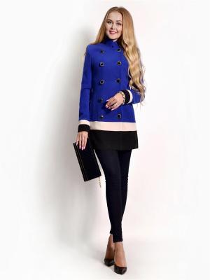 Пальто FRANCESCA LUCINI. Цвет: синий, бежевый, черный