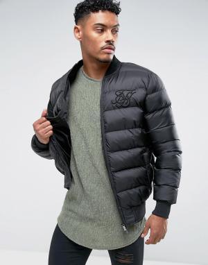 SikSilk Черная дутая куртка. Цвет: черный