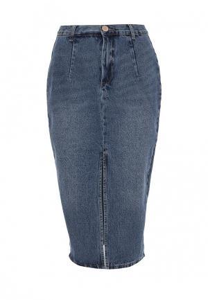 Юбка джинсовая LOST INK. Цвет: синий