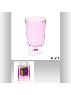 Набор бокалов для вина пластиковых пикника из 8 шт, 180 мл JJA. Цвет: фуксия
