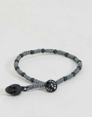 Icon Brand Серый браслет с бусинами и черепом. Цвет: серый