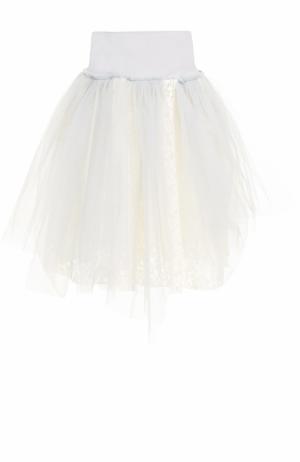 Кружевная пышная мини-юбка Deha. Цвет: серый