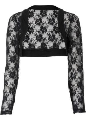 Кружевная куртка-болеро (черный) bonprix. Цвет: черный