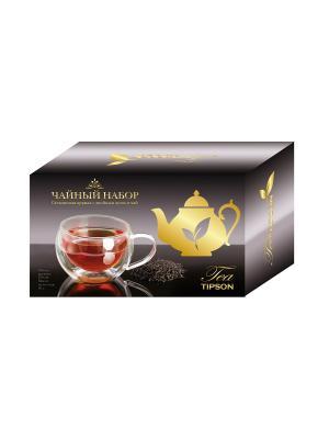 Чайный набор КРУЖКА стеклянная с двойным дном и чай зеленый саусэпом Tipson. Цвет: черный