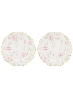 Набор обеденных тарелок Жизель Elan Gallery. Цвет: белый, розовый