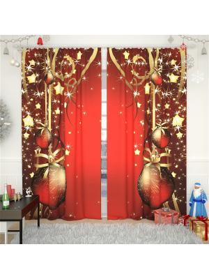 Фотошторы Олимп Текстиль. Цвет: красный, золотистый