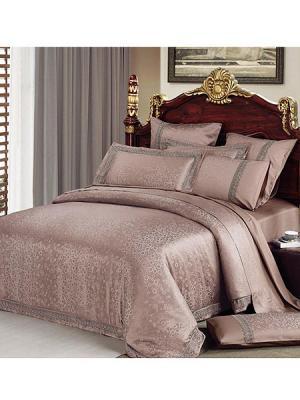Постельное белье евро, жаккард. сатин, кружево, 2 нав. 50х70, коричнево-сиреневый Asabella. Цвет: лиловый, серый
