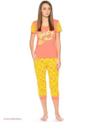 Домашний костюм-футболка и бриджи NAGOTEX. Цвет: оранжевый