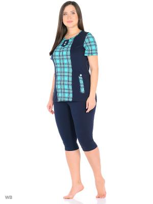 Домашний костюм HomeLike. Цвет: темно-синий, зеленый