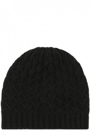 Кашемировая шапка с фактурным узором Johnstons Of Elgin. Цвет: черный