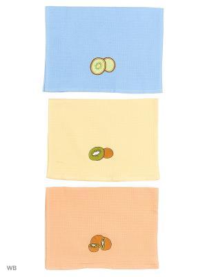 Кухонные полотенца ЛЮКС 3шт.45*65 см Dorothy's Нome. Цвет: синий, лазурный, голубой, светло-оранжевый