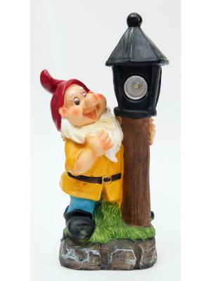 Садовый светильник Гном с фонарем Magic Home. Цвет: белый