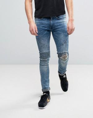 Religion Облегающие светло-синие байкерские джинсы с рваной отделкой на коленях. Цвет: синий