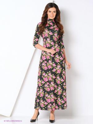 Платье макси ADZHEDO. Цвет: темно-зеленый, розовый