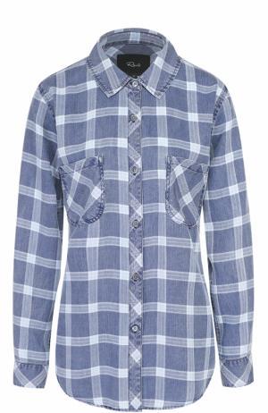 Блуза свободного кроя в клетку Rails. Цвет: синий