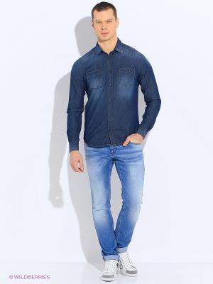 Рубашка Sisley. Цвет: темно-синий, серый, черный