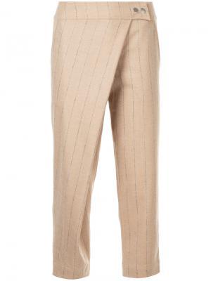 Полосатые брюки с накладной панелью Nehera. Цвет: коричневый