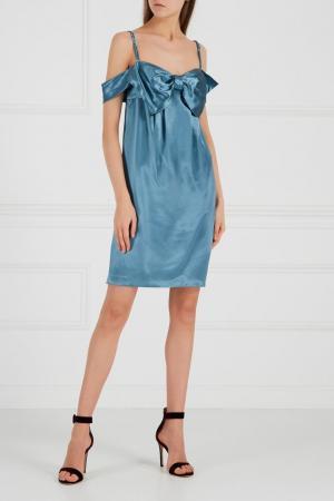 Платье с бантом Jenny Packham. Цвет: голубой