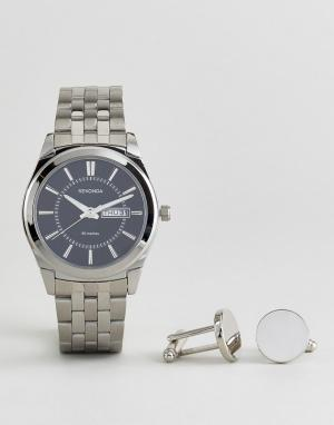 Sekonda Серебристые запонки и наручные часы 3479.78. Цвет: серебряный