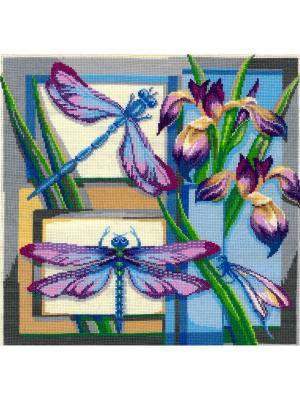 Стрекозы набор для вышивания 27х27 см NITEX. Цвет: синий, зеленый, сиреневый