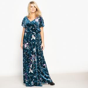 Платье-макси трикотажное с рисунком и короткими рукавами CASTALUNA. Цвет: рисунок японский