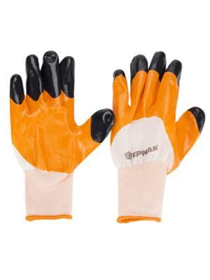 Перчатки рабочие нейлоновые с двойным нитриловым полуобливом, 10 размер, 23,5x13см, по 3  штуки Ермак. Цвет: черный, белый, оранжевый