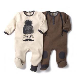 2 пижамы из мольтона со вшитыми носочками R baby. Цвет: коричневый + бежевый
