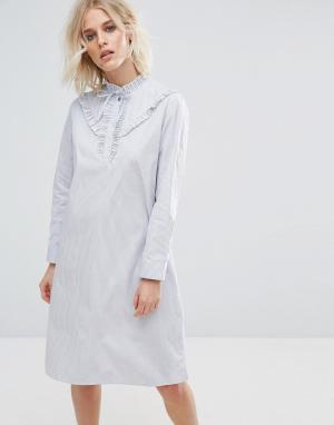 PS Paul Smith Хлопковое платье в полоску с оборками by. Цвет: синий