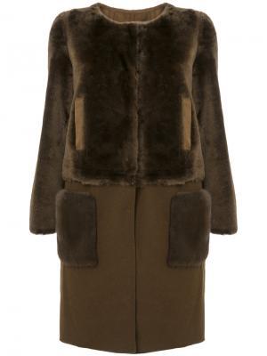 Норковая шуба со съемным подолом Yves Salomon. Цвет: коричневый